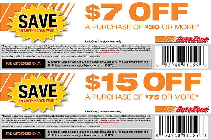 AutoZone Coupon November 2017 $7 off $30 & more at AutoZone