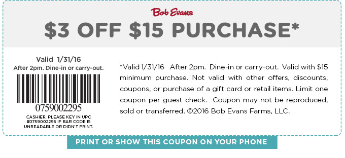 Bob Evans Coupon December 2018 $3 off $15 today at Bob Evans restaurants