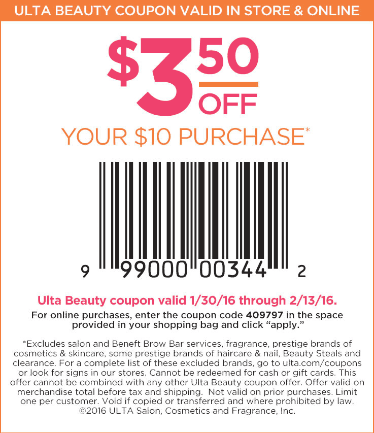 Ulta Coupon January 2017 $3.50 off $10 at Ulta Beauty, or online via promo code 409797