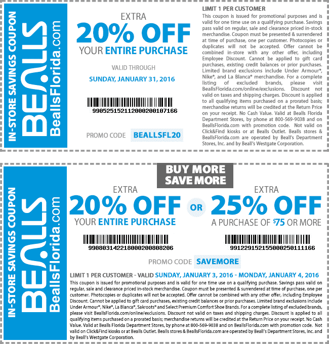 Bealls Coupon June 2017 20-25% off today at Bealls, or online via promo code SAVEMORE