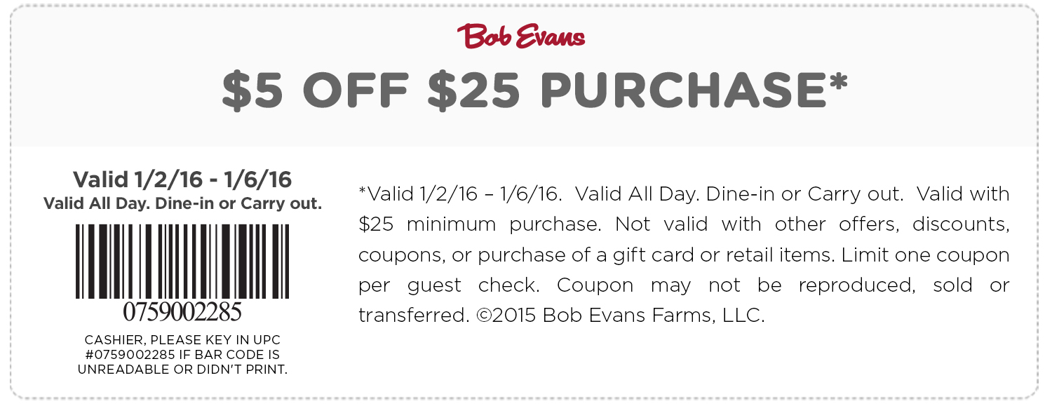 Bob Evans Coupon April 2017 $5 off $25 at Bob Evans restaurants