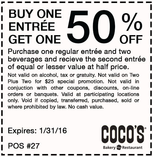 Cocos Coupon July 2018 Second entree 50% off at Cocos bakery restaurant