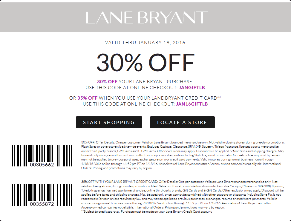 Lane Bryant Coupon April 2019 30% off at Lane Bryant, or online via promo code JANGIFTLB