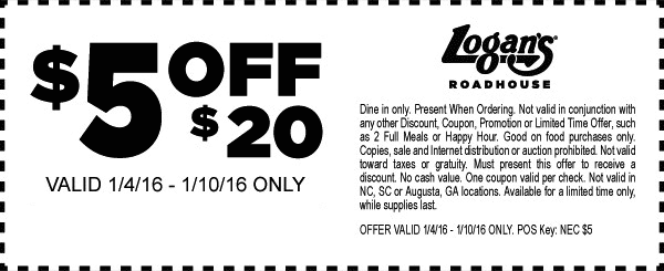 Logans Roadhouse Coupon February 2017 $5 off $20 at Logans Roadhouse restaurants