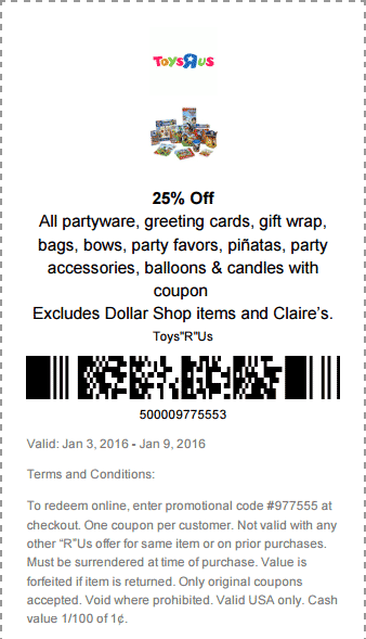Toys R Us Coupon February 2017 25% off party supplies at Toys R Us, or online via promo code 977555