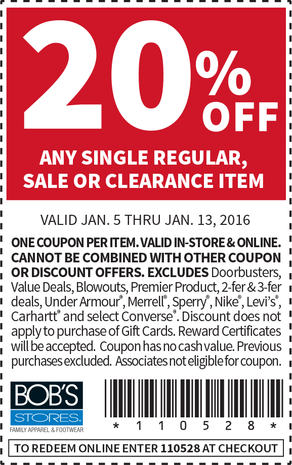 BobsStores.com Promo Coupon 20% off a single item at Bobs Stores, or online via promo code 110528