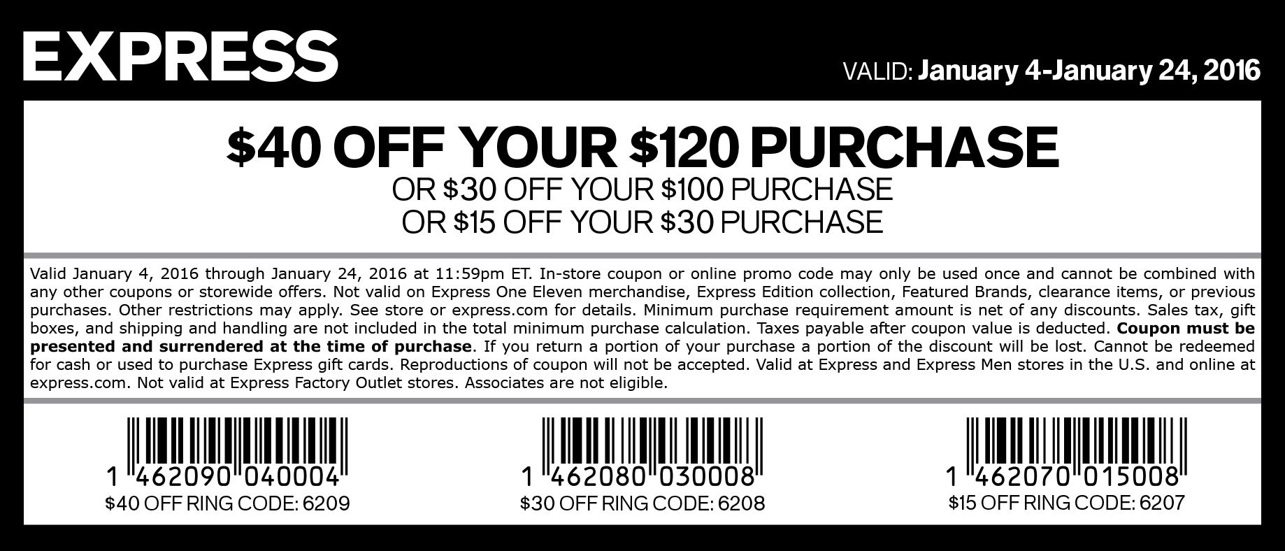 Express Coupon April 2017 $15 off $30 & more at Express, or online via promo code 6207