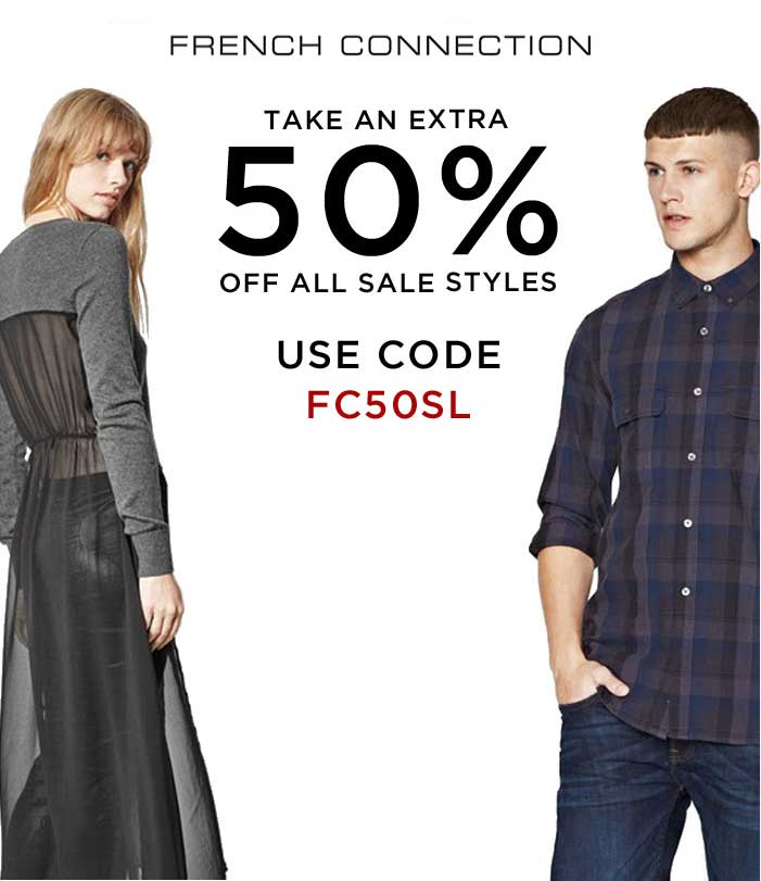 French Connection Coupon September 2017 Extra 50% off sale styles at French Connection, or online via promo code FC50SL