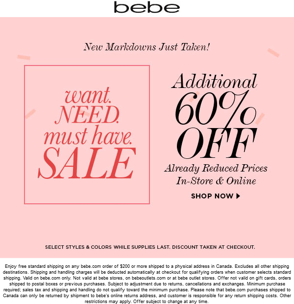 Bebe Coupon June 2017 Extra 60% off sale items at bebe, ditto online