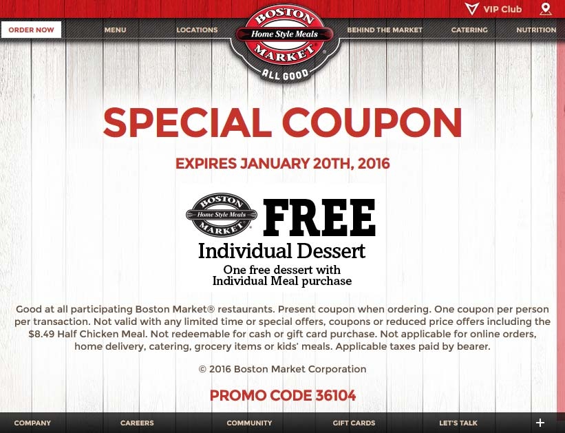 Boston Market Coupon July 2017 Free dessert with your meal at Boston Market