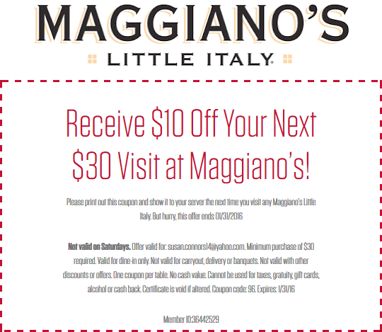 Maggianos Little Italy Coupon July 2017 $10 off $30 at Maggianos Little Italy restaurants