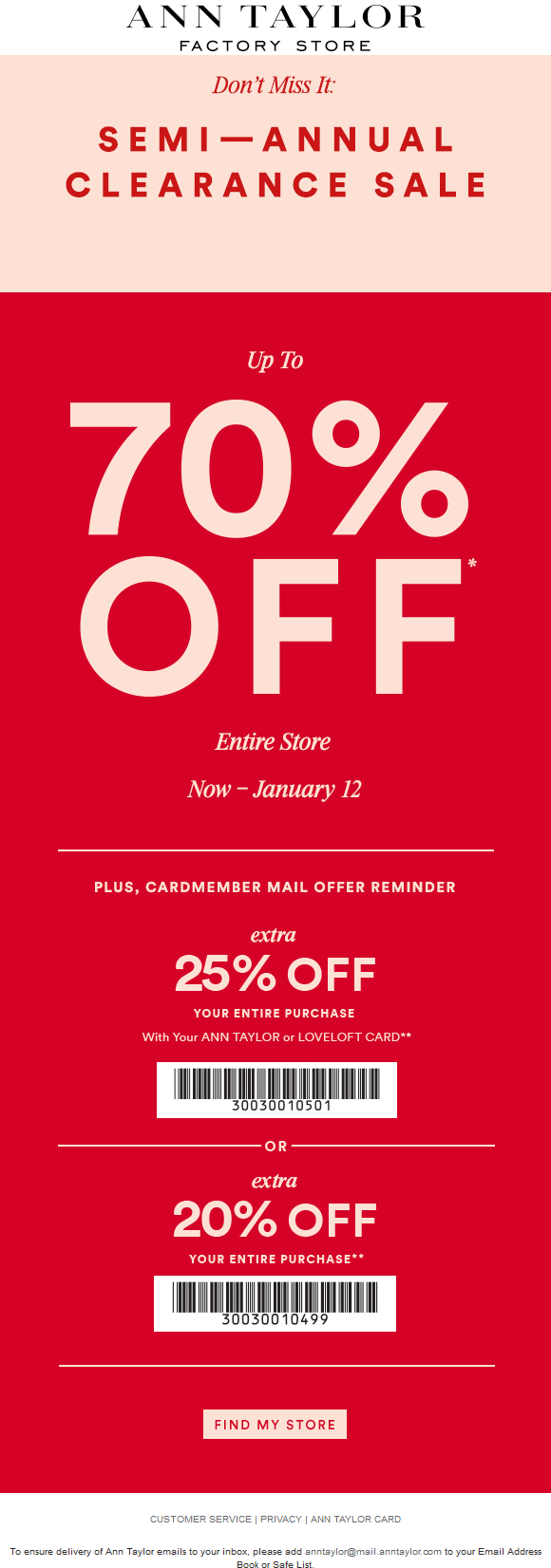 Ann Taylor Coupon December 2016 Extra 20% off at Ann Taylor Factory stores