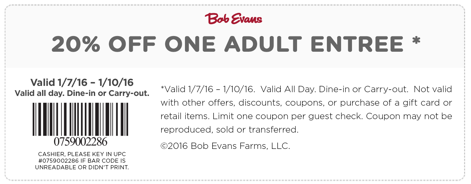 Bob Evans Coupon June 2018 20% off an entree at Bob Evans