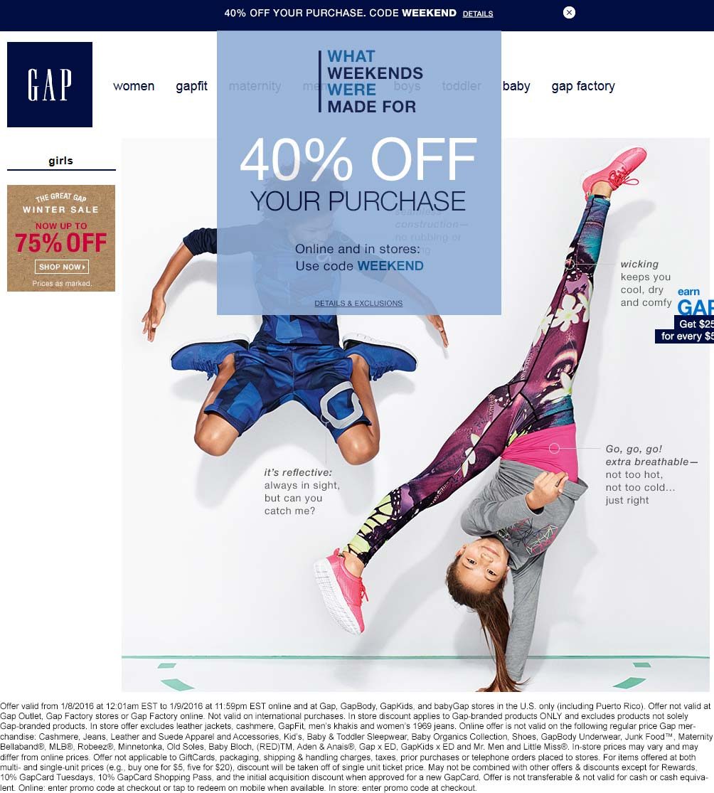 Gap Coupon September 2017 40% off at Gap, or online via promo code WEEKEND