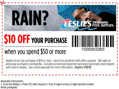 Leslies Pool Supplies Coupon January 2017 $10 off $50 at Leslies Pool Supplies