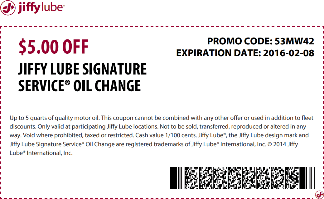 Jiffy Lube Coupon November 2017 $5 off an oil change at Jiffy Lube