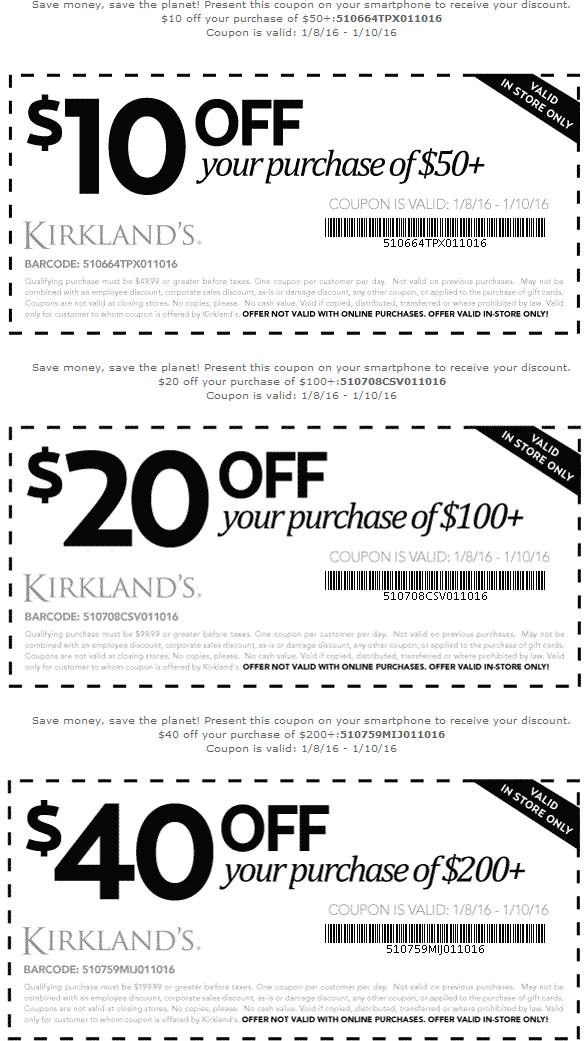 Kirklands Coupon February 2017 $10-$40 off $50+ at Kirklands