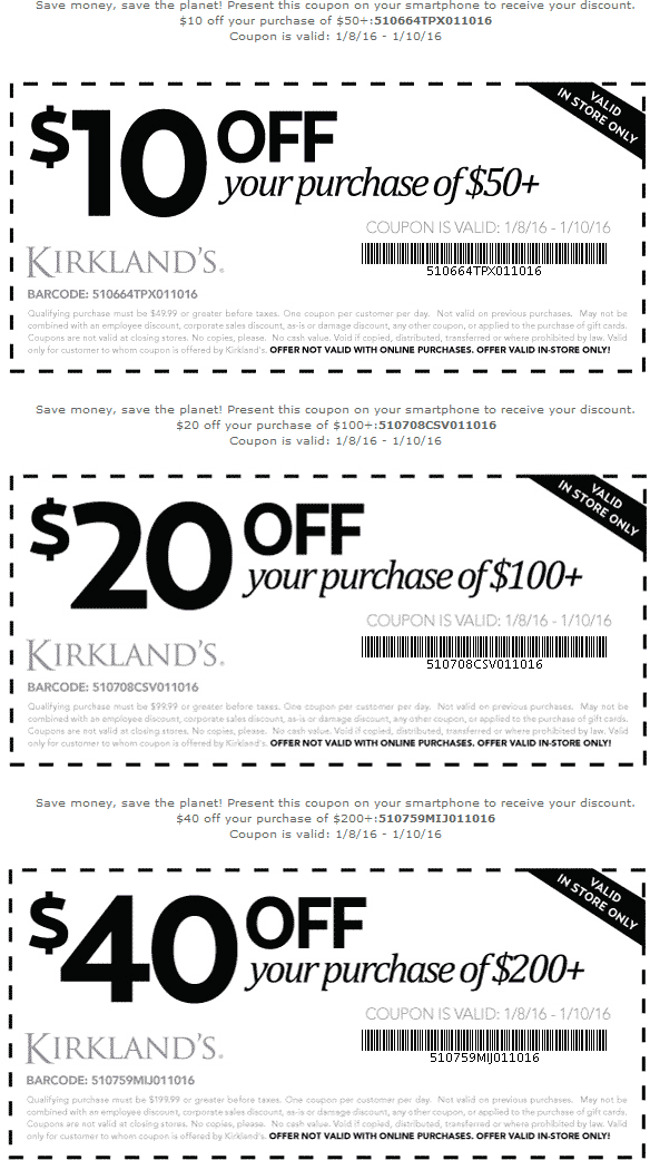 Kirklands Coupon September 2017 $10-$40 off $50+ at Kirklands