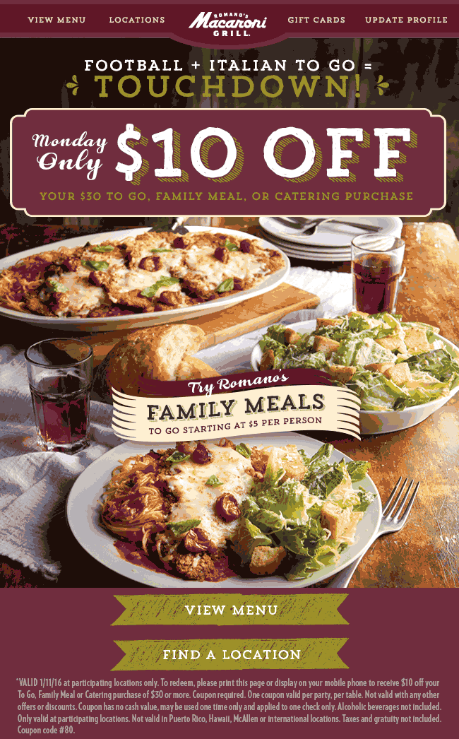 Macaroni Grill Coupon July 2018 $10 off $30 on family meals & takeout Monday at Macaroni Grill