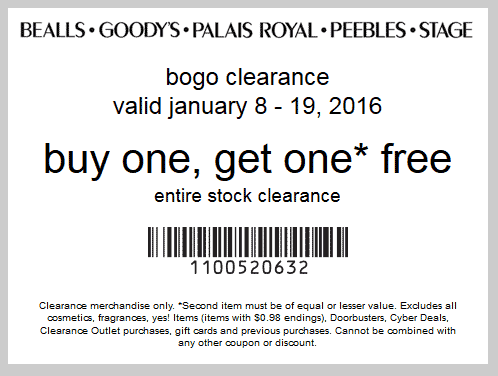 Bealls Coupon January 2017 Second clearance item free at Bealls, Goodys, Palais Royal, Peebles & Stage Stores, or online via promo code 1100520632