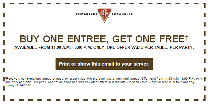 BJs Restaurant Coupon August 2018 Second lunch free at BJs restaurant & brewhouse