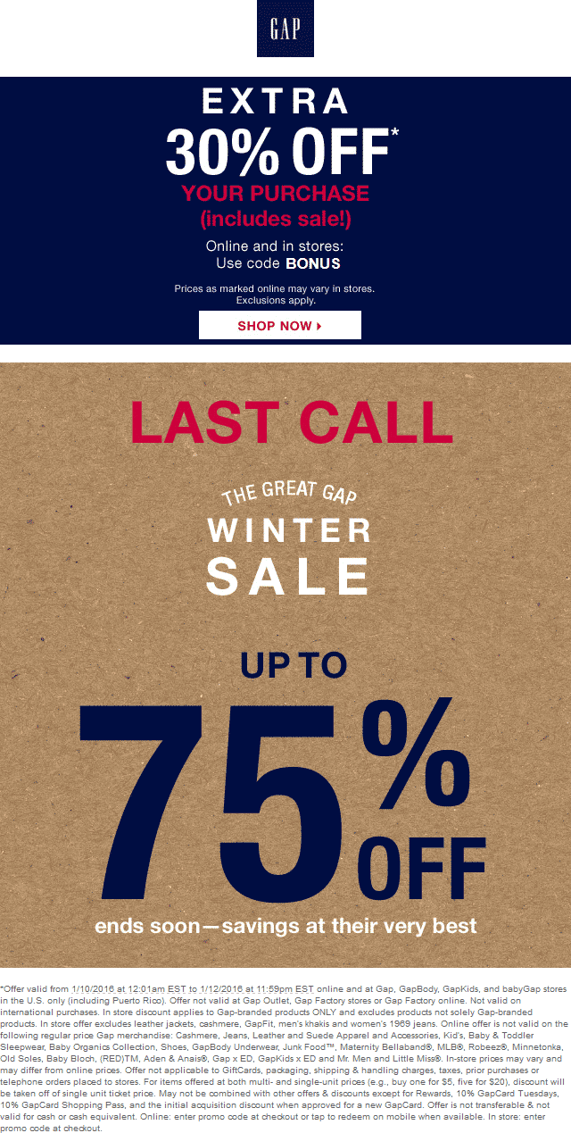 Gap Coupon March 2017 Extra 30% off at Gap, or online via promo code BONUS