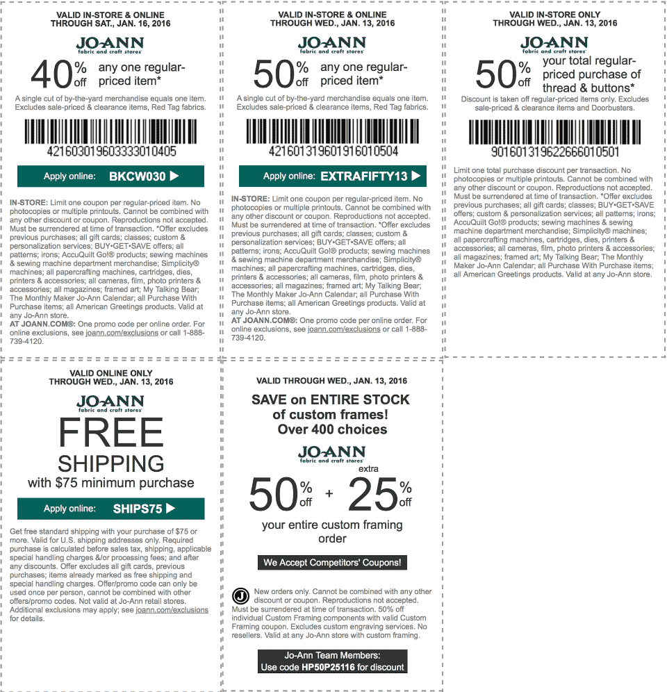 Jo-Ann Fabric Coupon October 2016 50% off a single item & more at Jo-Ann Fabric, or online via promo code EXTRAFIFTY13