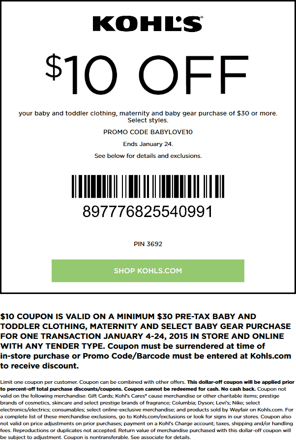 Kohls Coupon August 2017 $10 off $30 on baby gear & maternity at Kohls, or online via promo code BABYLOVE10