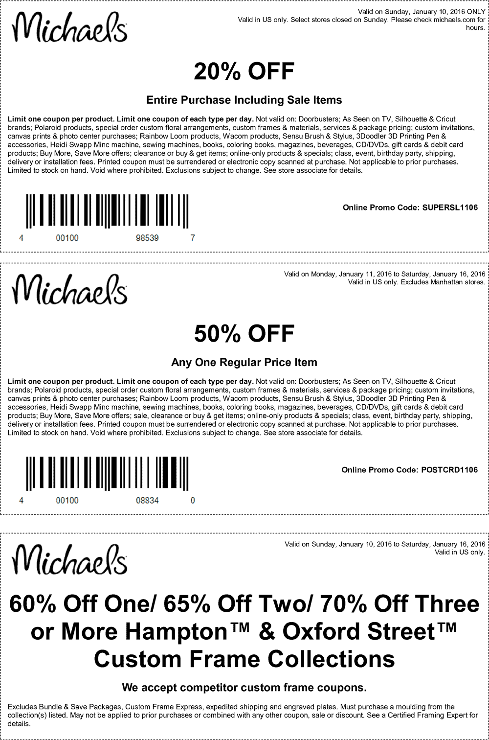 Michaels Coupon May 2017 20% off everything, 50% off a single item at Michaels, or online via promo code POSTCRD1106