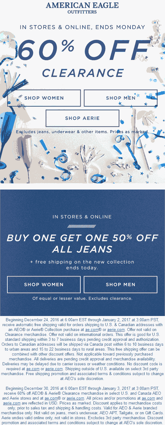 AmericanEagleOutfitters.com Promo Coupon Extra 60% off clearance at American Eagle Outfitters & Aerie, ditto online