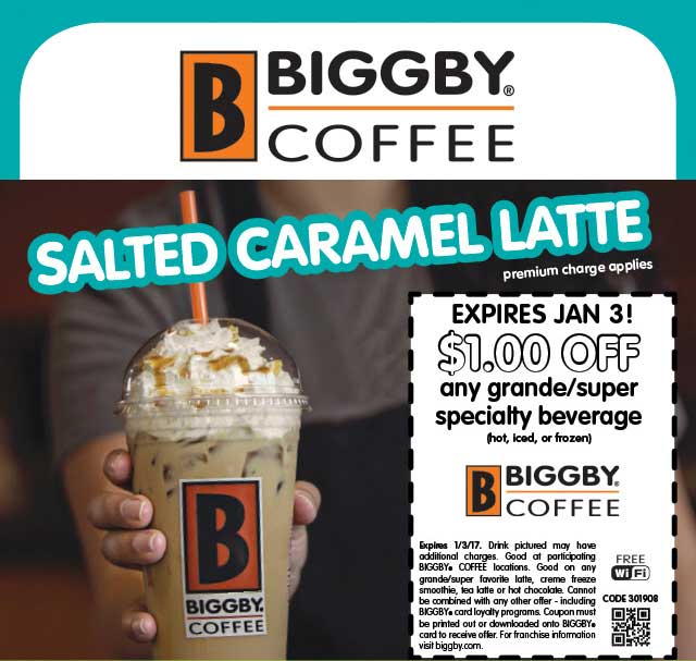 BiggbyCoffee.com Promo Coupon Shave a buck off your drink at Biggby Coffee