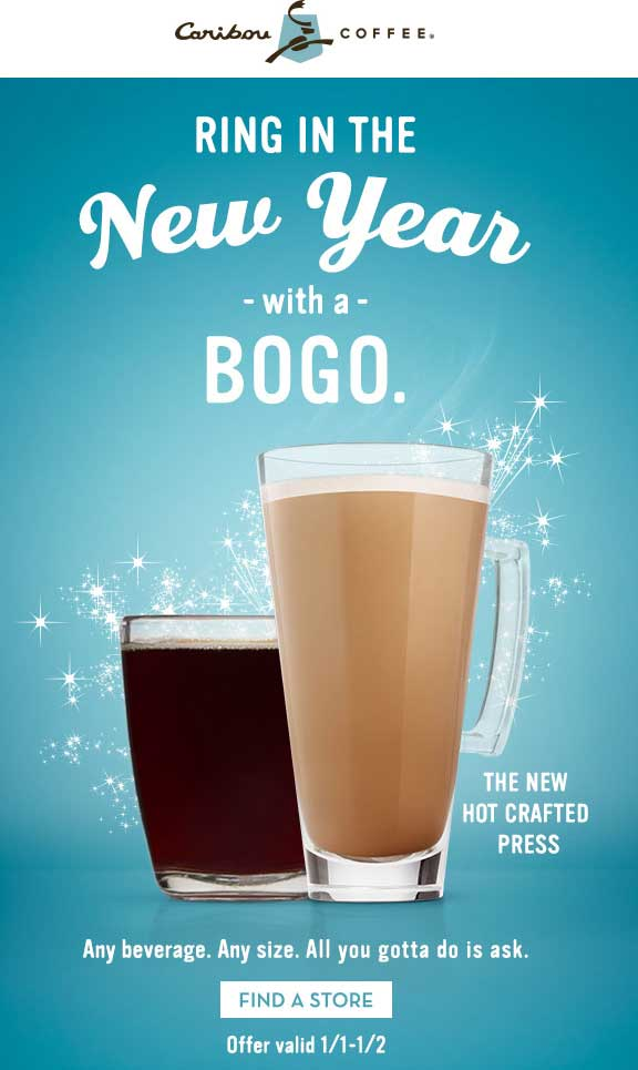 CaribouCoffee.com Promo Coupon Second beverage free at Caribou Coffee