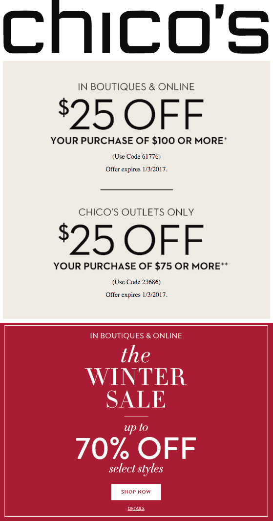 Chicos.com Promo Coupon $25 off $100 at Chicos, or online via promo code 61776