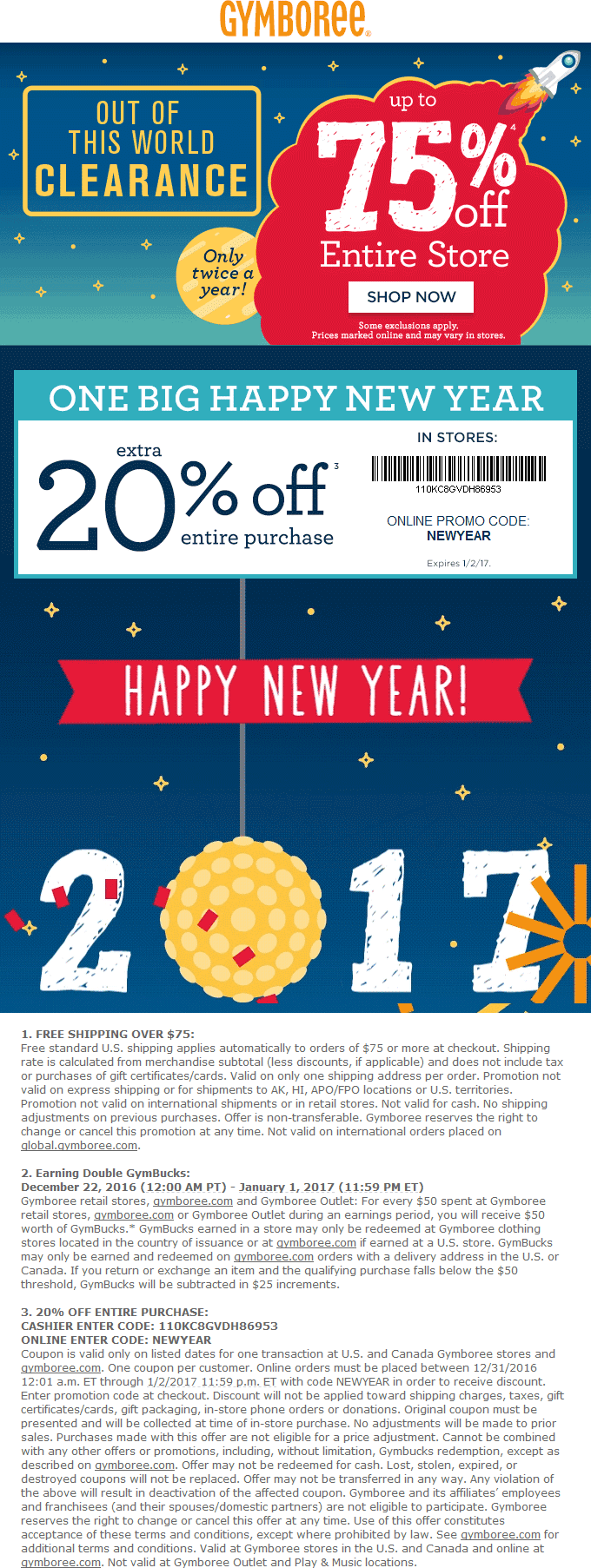 Gymboree.com Promo Coupon Extra 20% off everything at Gymboree, or online via promo code NEWYEAR