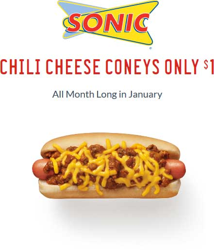 SonicDrive-in.com Promo Coupon Chili cheese hot dogs for $1 all month at Sonic Drive-In restaurants