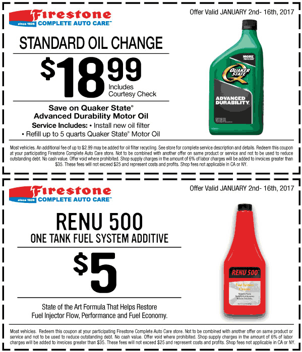 Firestone.com Promo Coupon $19 oil change at Firestone