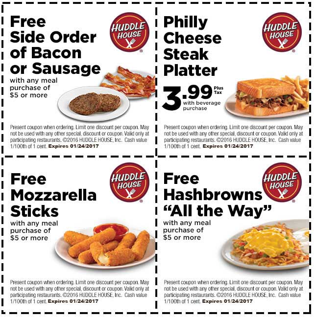 HuddleHouse.com Promo Coupon Free mozzarella sticks, hashbrowns & more at Huddle House restaurants