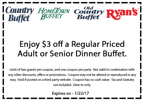 HometownBuffet.com Promo Coupon $3 off at Old Country Buffet, Ryans & HomeTown Buffet restaurants
