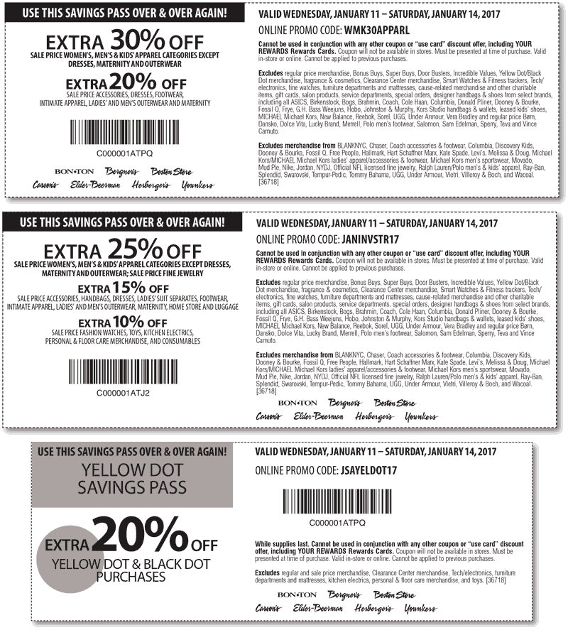 Carsons.com Promo Coupon Extra 30% off sale apparel at Carsons, Bon Ton & sister stores, or online via promo code WMK30APPARL