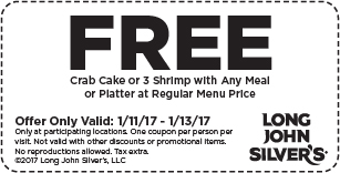 LongJohnSilvers.com Promo Coupon Free crab cake or shrimp with your meal at Long John Silvers