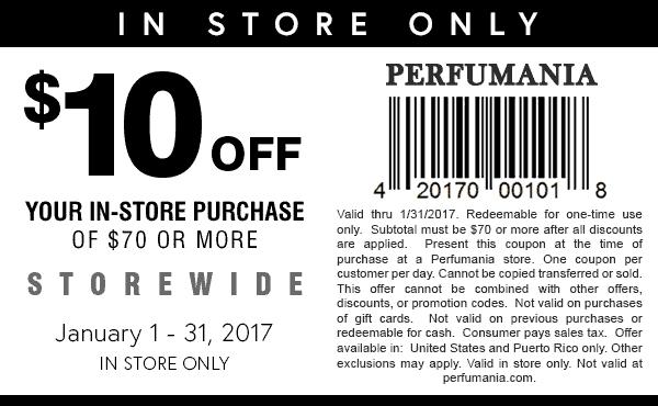 Perfumania.com Promo Coupon $10 off $70 at Perfumania