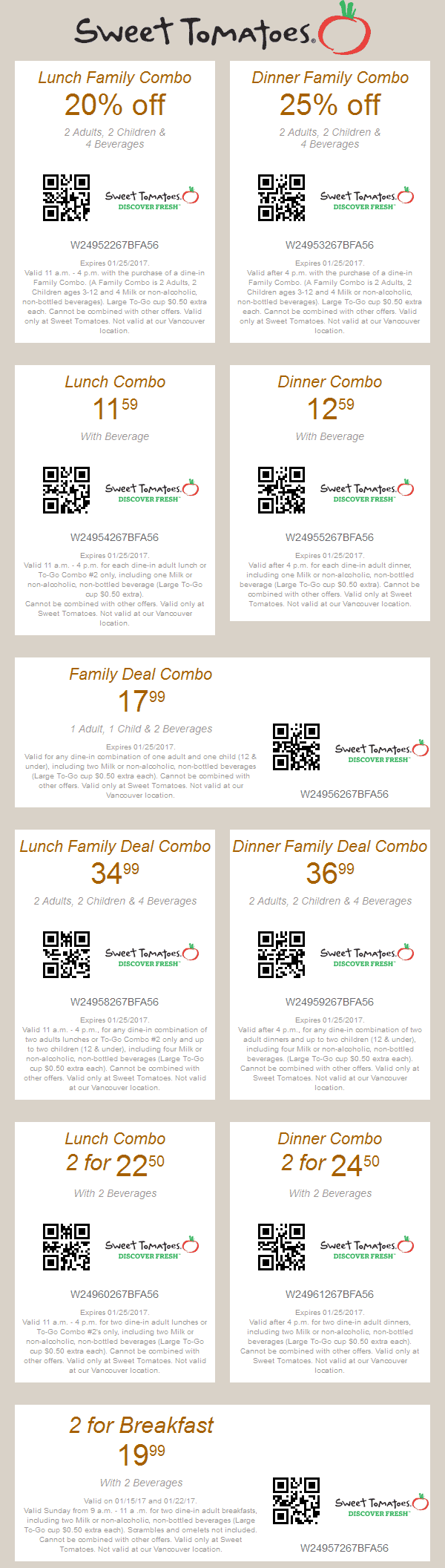 SweetTomatoes.com Promo Coupon 20% off lunch, 25% off dinner at Sweet Tomatoes & Souplantation