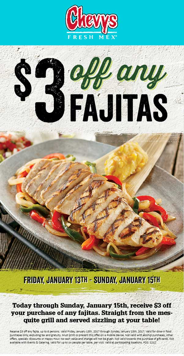 ChevysFreshMex.com Promo Coupon $3 off fajitas at Chevys Fresh Mex restaurants