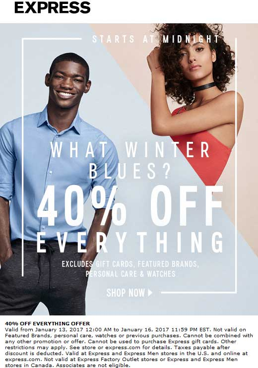 Express.com Promo Coupon 40% off everything at Express, ditto online