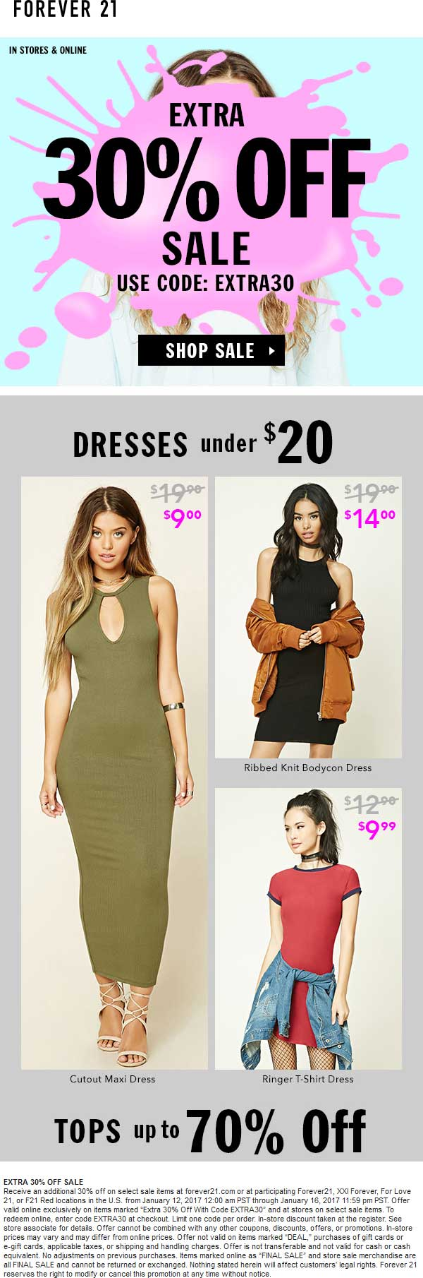 Forever21.com Promo Coupon Extra 30% off sale items at Forever 21, or online via promo code EXTRA30