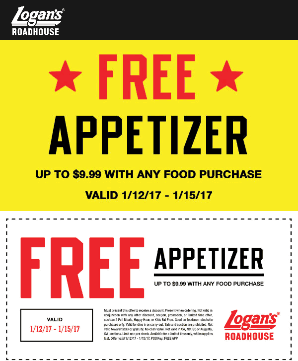 LogansRoadhouse.com Promo Coupon Free appetizer with any order at Logans Roadhouse