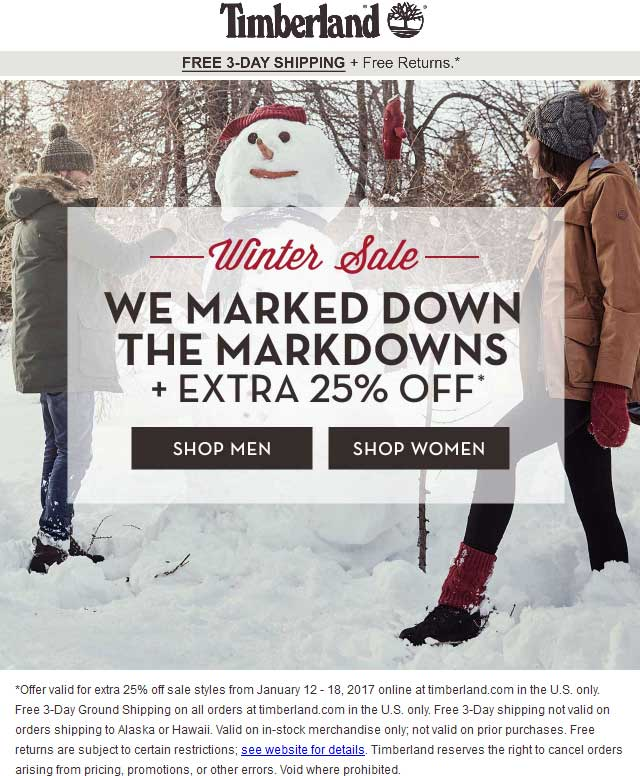 Timberland.com Promo Coupon Extra 25% off sale items online at Timberland