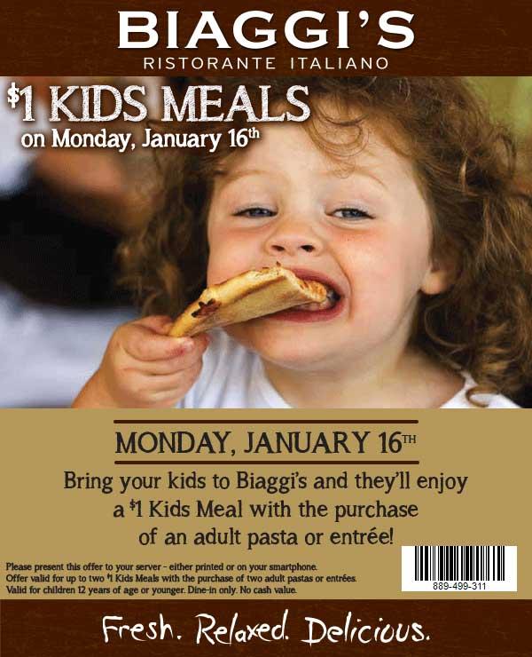 Biaggis.com Promo Coupon Kids meals for a buck Monday at Biaggis Italian restaurant