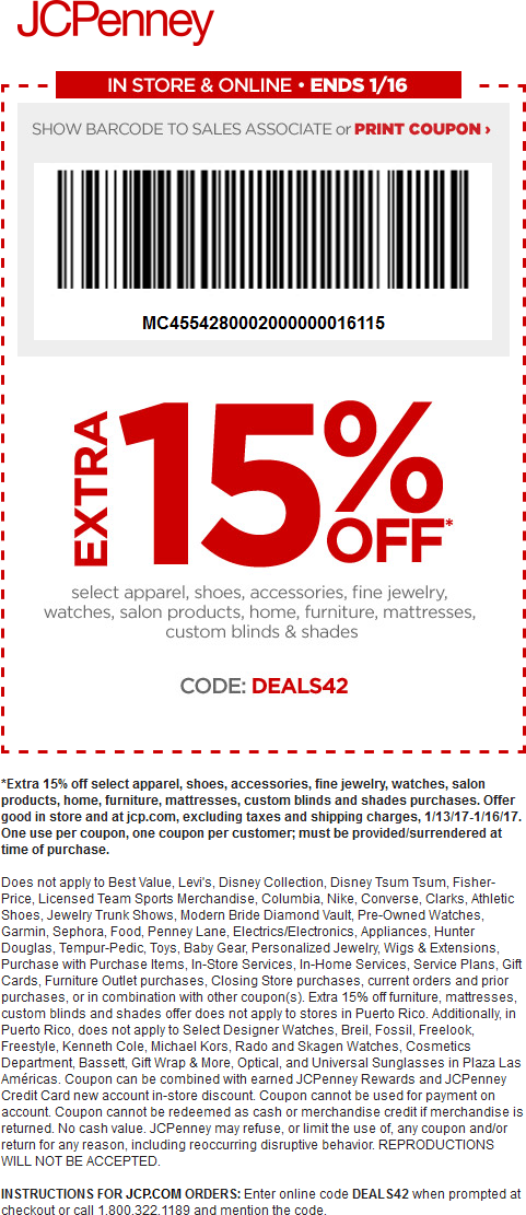 JCPenney.com Promo Coupon Extra 15% off at JCPenney, or online via promo code DEALS42
