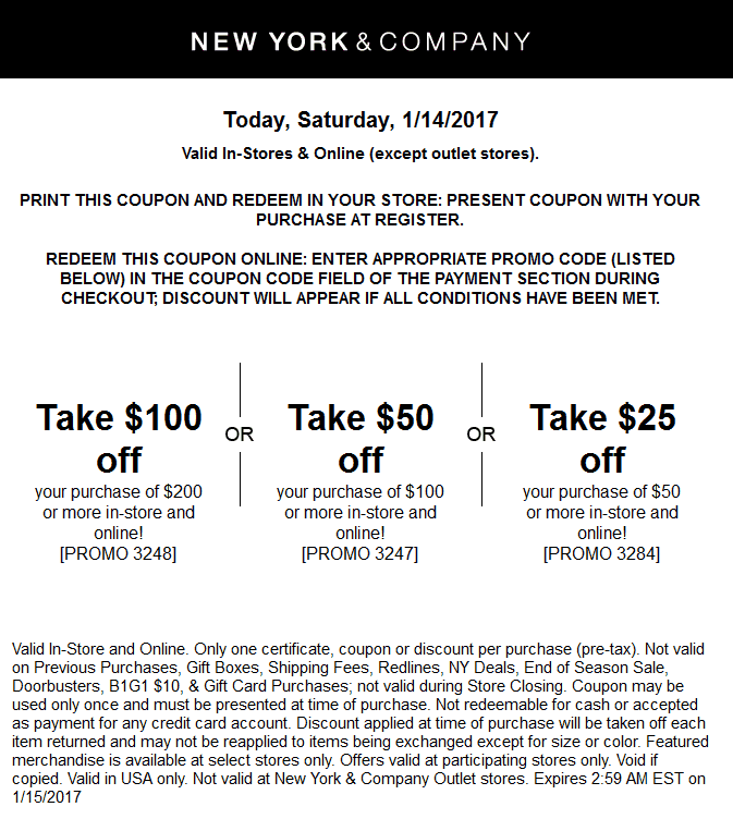NewYork&Company.com Promo Coupon $25 off $50 & more today at New York & Company, or online via promo code 3284